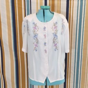 True Vintage Sheer Embroidered Flower Blouse